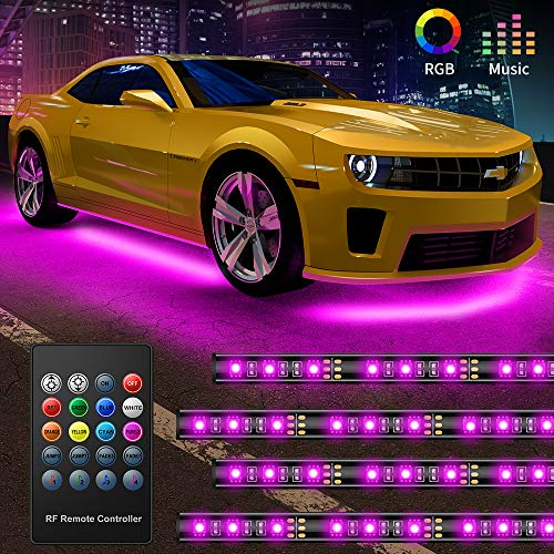 Govee Car Underglow LED Lights, Exterior Car Lights with 8 Colors Sync to Music, 4 PCS Neon Accent Car Light Strips with Remote Control 5050 RGB Under LED lights for Car with Cable Tie & Screw, DC 12V