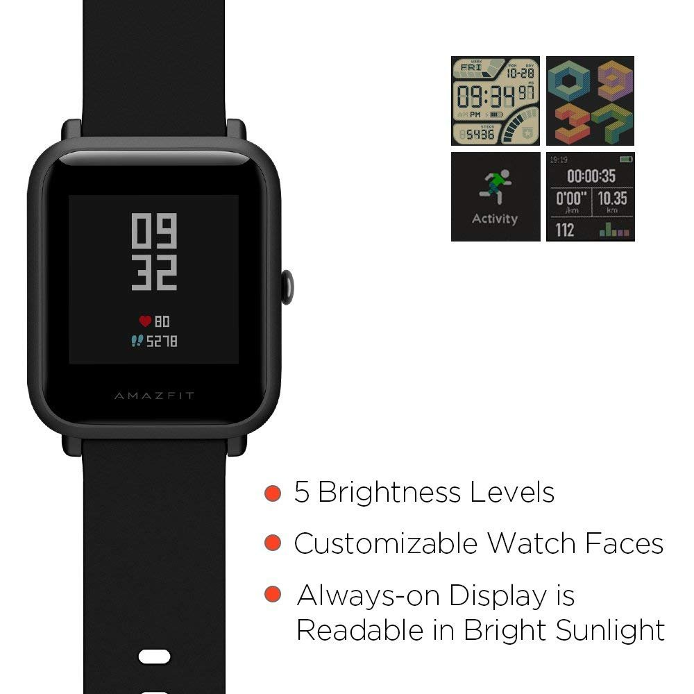 Huami Amazfit Pace Bip Touch Screen GPS Fitness Tacker Heart Rate IP68  Professional Waterproof Smart Watch (Black)