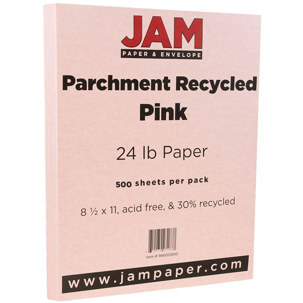 JAM Paper Parchment Paper - 8.5'' x 11'' - 24lb Pink Ice Recycled - 500 Sheets/Ream
