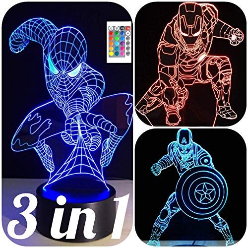 3 in 1-3D Night Lights for Kids 7 Colors-3D LED Illusion Lamp with Remote Control-Bedroom Table Lamp-Spiderman-Captain America-Ironman-(Avengers 3 in1)