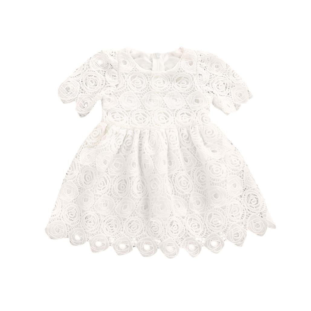 Jarsh Toddler Baby Girls White Short Sleeve Lace Dress Princess Formal Dress Outfits