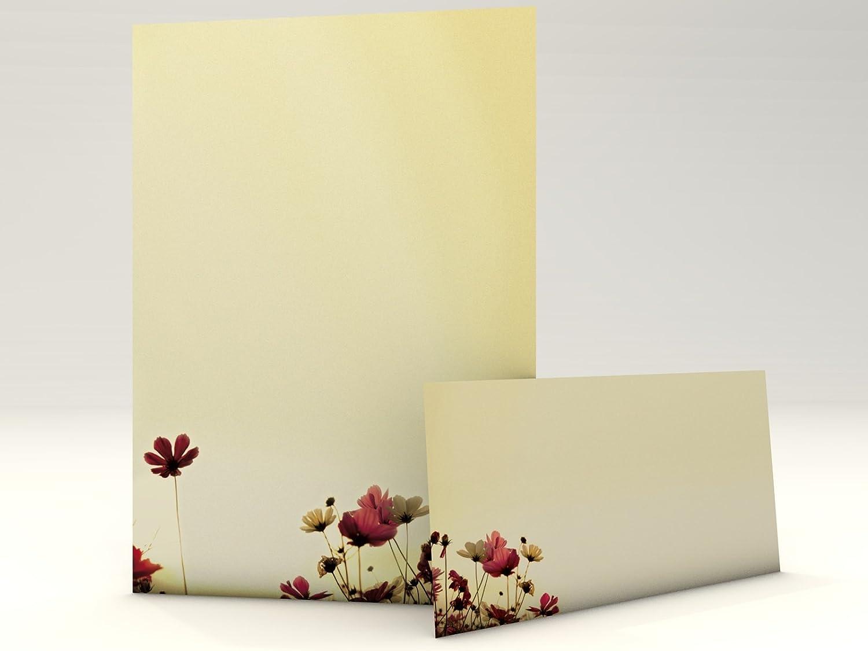 writing Paper setSunny Flowers, 20fogli di formato A4+ 20buste DIN lungo per stampa laser o a inchiostro/copia/stampa a mano paperandpicture.de