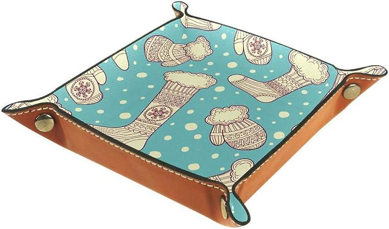 TIZORAX Mitones y Calcetines de Lana Caja de Almacenamiento de Cuero Bandeja de Valet Organizador de Joyas para Llave de Moneda: Amazon.es: Hogar