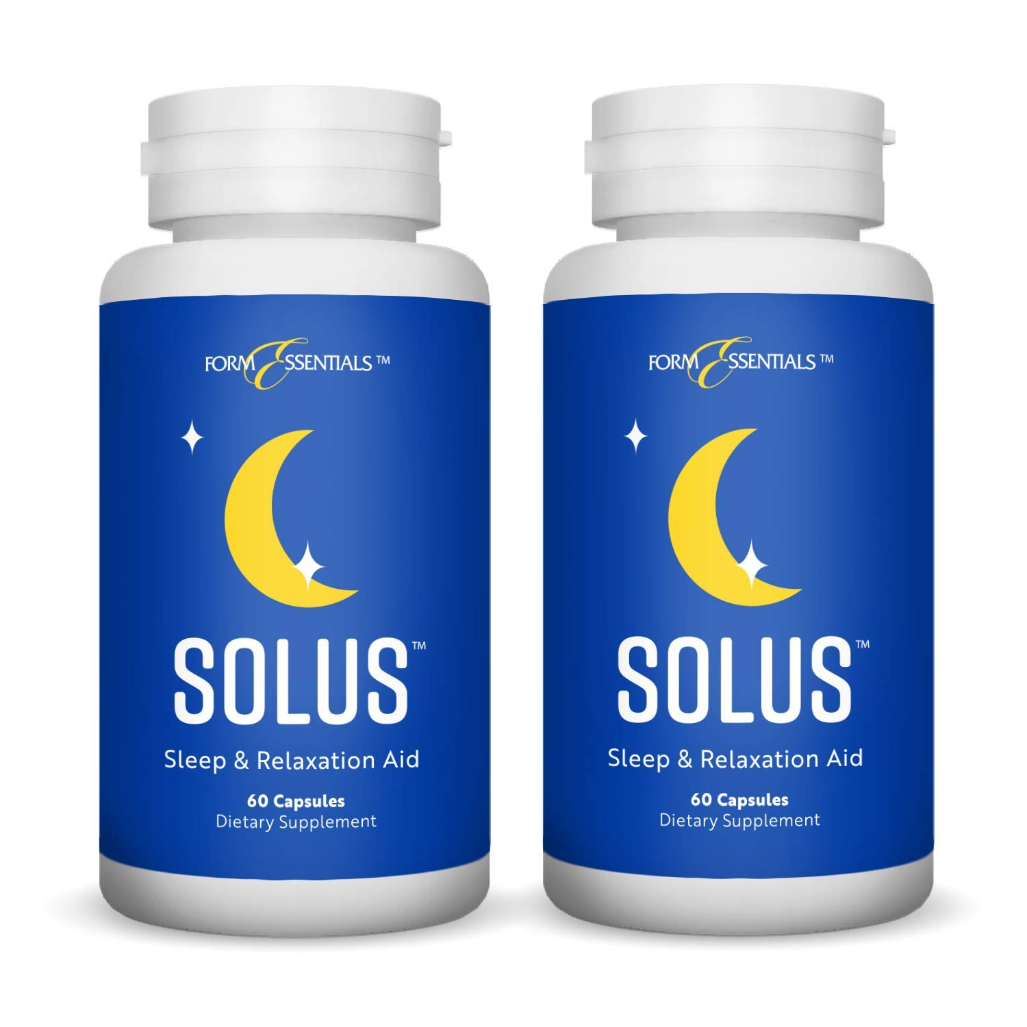 Form Essentials, Solus, All Natural Herbal Sleep Aid and Relaxation Supplement with L-Tryptophan, Melatonin, Chamomile, Valerian, 5-HTP, 60 Capsules (2 Pack)