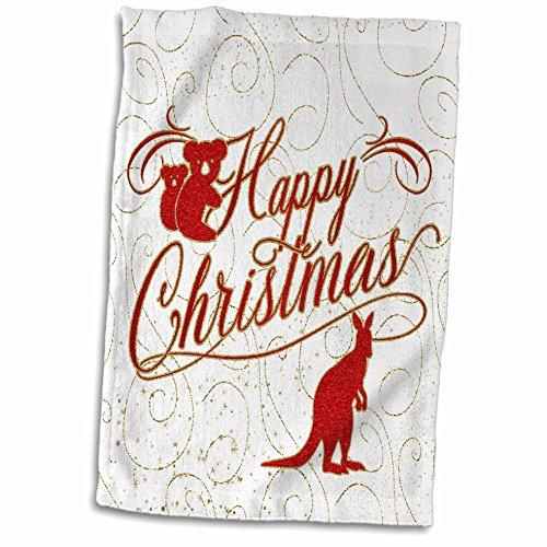 Australia Towel - 3dRose Doreen Erhardt Christmas Around the World - Australia Christmas Koala Bears Kangaroo in Red with Gold - 15x22 Hand Towel (twl_269598_1)