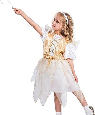 EraSpooky Disfraz Traje de ángel con Alas para Niña(Dorado, Small ...