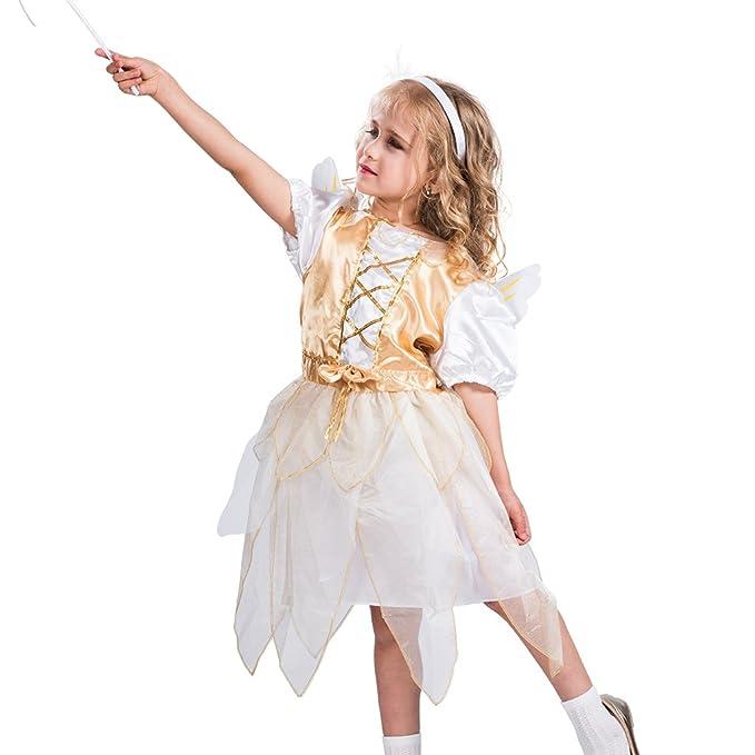 EraSpooky Disfraz Traje de ángel con Alas para Niña(Dorado ...