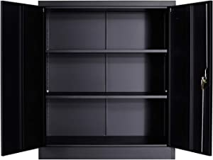 GREATMEET Metal Storage Cabinet with 2 Adjustable Shelf and Locking Doors Steel Counter Height Cabinet for Home Office Black