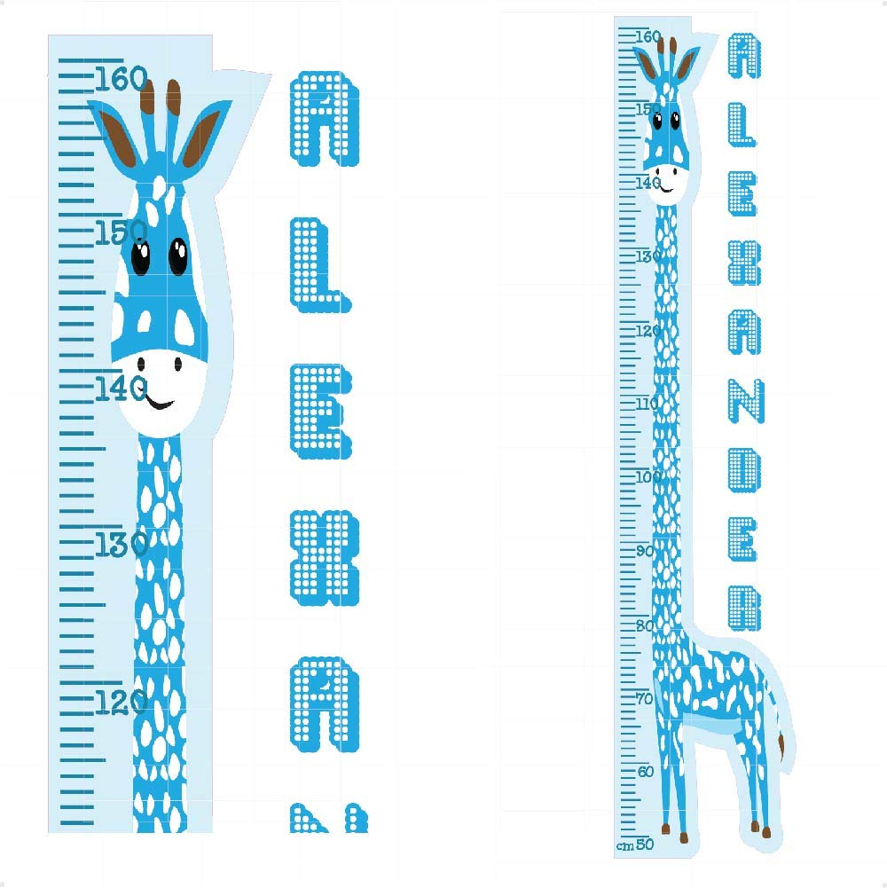 Personalised Giraffe Height Chart Grey Yellow Animals Nursery Wall Stickers -Colourful Wall Art Decal for Height Measure|Perfect for Boys Girls Bedroom or Baby Nursery |StickersMagic