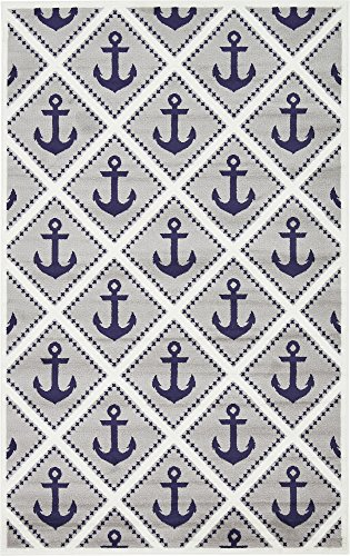 Unique Loom Metro Collection Modern Nautical Geometric Anchor Gray Area Rug (5' 0 x 8' 0)