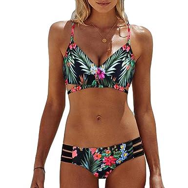 Damen Bandage Neckholder BH Boy Shorts Strand Gepolsterter Badebekleidung Bikini