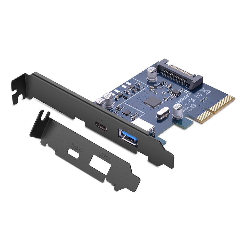 UGREEN Tarjeta PCI Express de USB C y USB 3.1 con UASP, Alimentació n por SATA 15 Pines y Perfil Doble Alimentación por SATA 15 Pines y Perfil Doble Ugreen Group Limited 30774