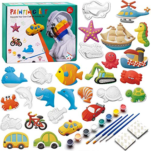 KODATEK 55 Pieces Kids Crafts and Arts Set Painting Kit Painting Your Own Figurines, for Real Painting Ready to Paint…