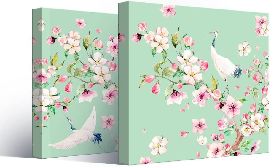 2 Panel Square Canvas Wall Art - Watercolor Style Painting of Cranes and Flowers on Light Green Background - Giclee Print Gallery Wrap Modern Home Art Ready to Hang - 16