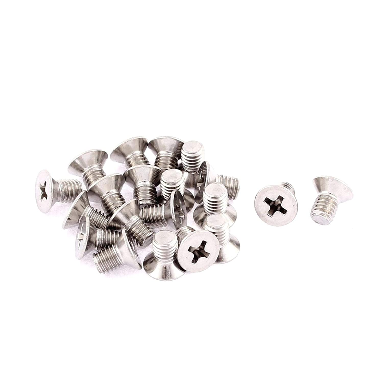 ZXYAN Tornillos de Tornillo de m/áquina 20Pcs Tornillos avellanados Phillips de Cabeza Plana M5 x 8 mm