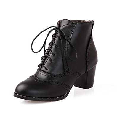 Womens Brogue Chunky Heel Ankle Booties Retro PU Lace Up Casual Oxford Shoes