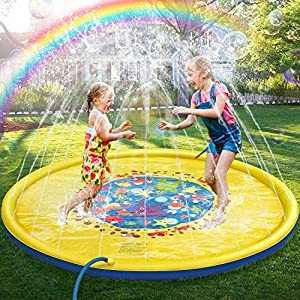 Jojoin 68 Pollici Bambini Giochi d'Acqua, Splash Play Mat Sprinkler Pad - Gioco di Spruzzi d'Acqua Tappetino, Portatile… 2 spesavip