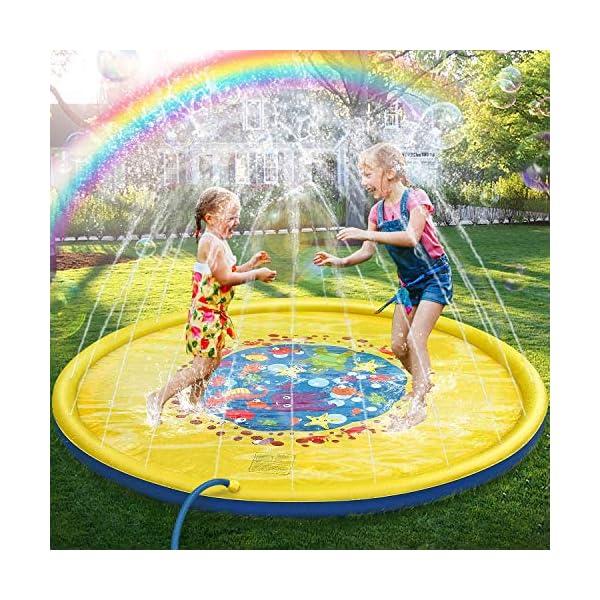 Jojoin 68 Pollici Bambini Giochi d'Acqua, Splash Play Mat Sprinkler Pad - Gioco di Spruzzi d'Acqua Tappetino, Portatile… 1 spesavip
