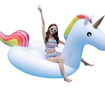 Boby Colchoneta Hinchable Flotador Unicornios Pool Float Gigante Piscina Inflable para Adultos Unicorn 270 x 110