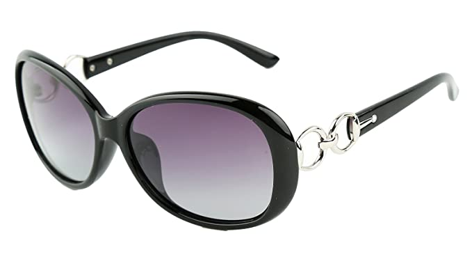 64a9bd1b20 Beison Classic Women s Shades Oversized Glasses Polarized Sunglasses UV400 (Black  frame Gradient purple