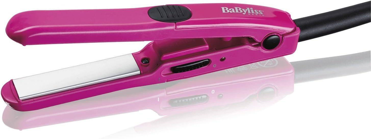 BaByliss H100E - Plancha de pelo mini de viaje, hasta 200° C, voltaje universal 120/240 V, color rosa