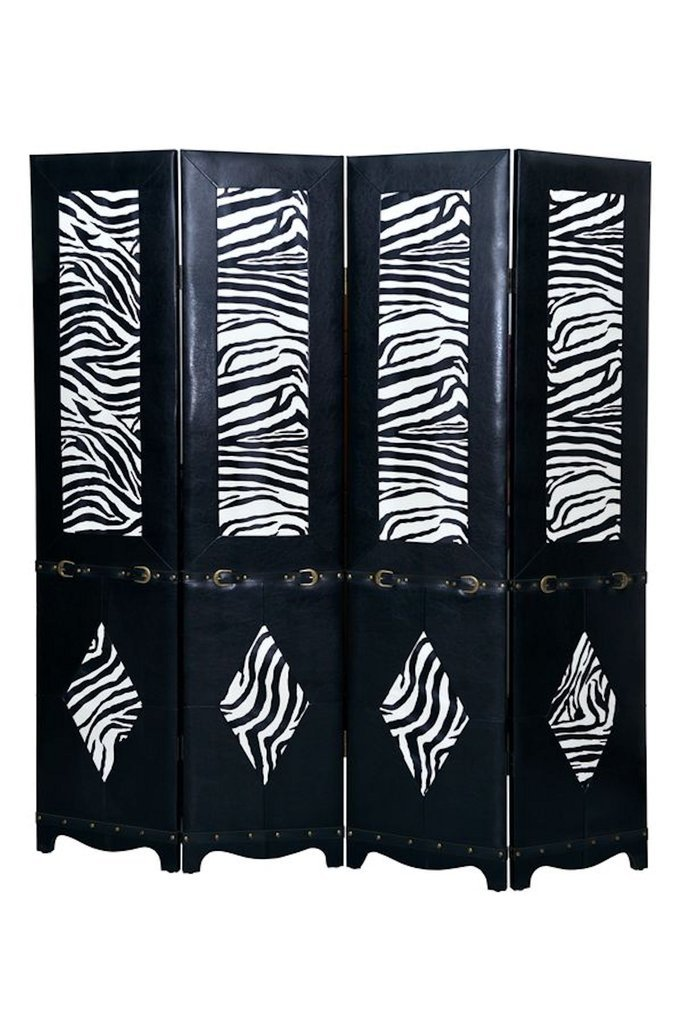 Legacy Decor Black 4 Panel Leather Screen Room Divider with Zebra Print and Belt Buckle Accents