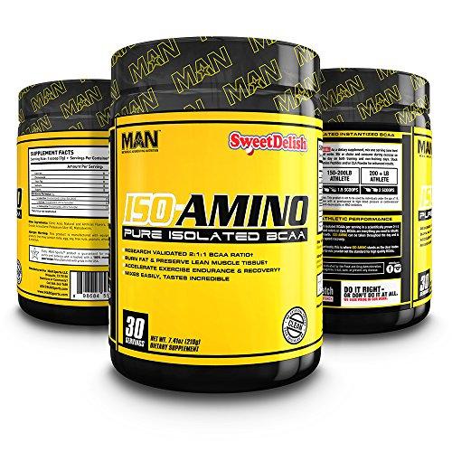 MAN Sports ISO-AMINO BCAA Amino Acid Powder, Sweet Delish, 30 Servings,  7.41 Ounce