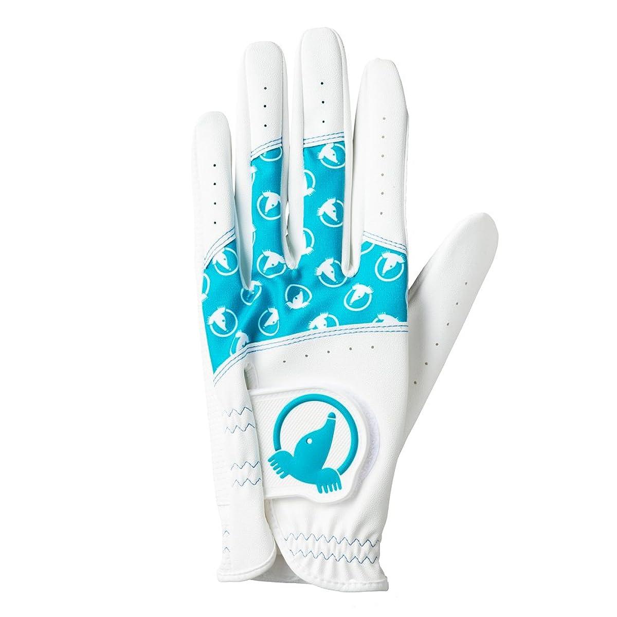 [해외] 혼마 골프 골프 글러브 HONMA 레이디스 글러브 왼손용 화이트/터쿼이즈(Turquoise)부루 18CM 컬러풀 두더지 레이디스 GC-6701 화이트
