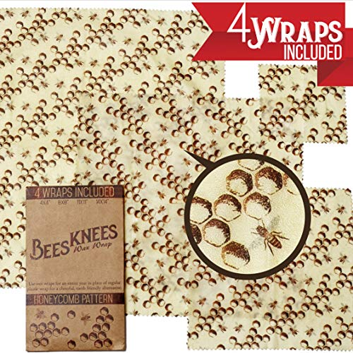 Beeswax Wrap   Bees Knees Wax Wrap 4 Pack   Reusable Wrap Food Preservation   Designed in Oregon   Sizes included: 14x14, 11x11, 8x8, and 4x4