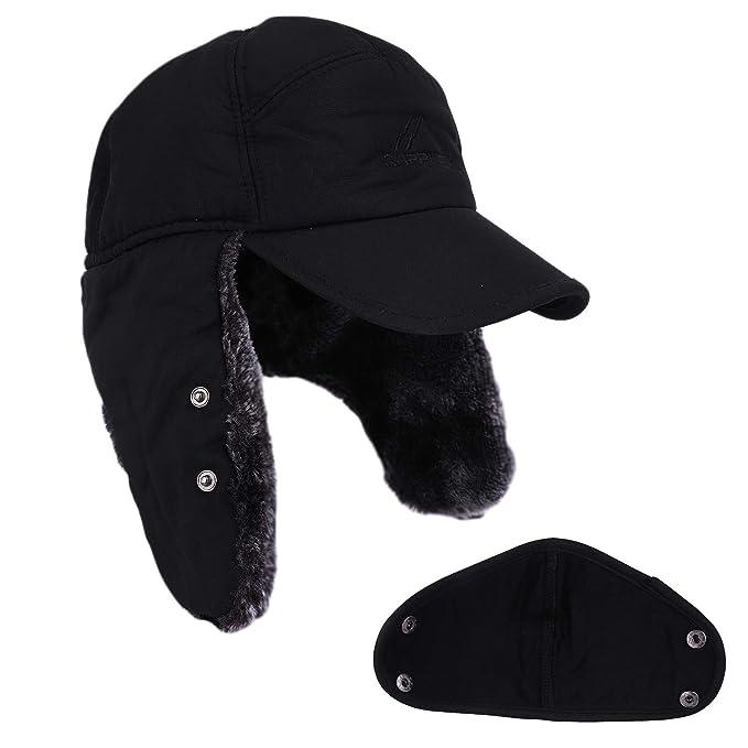 1cf81bf98a9d9 Amazon.com  Women Men Ear Flaps Hat Aviator Winter Warm Trapper Hat Snow  Ski Cycling Caps Fashion Faux Fur Ushanka Hat Outdoor Baseball Caps Beanie  Caps ...
