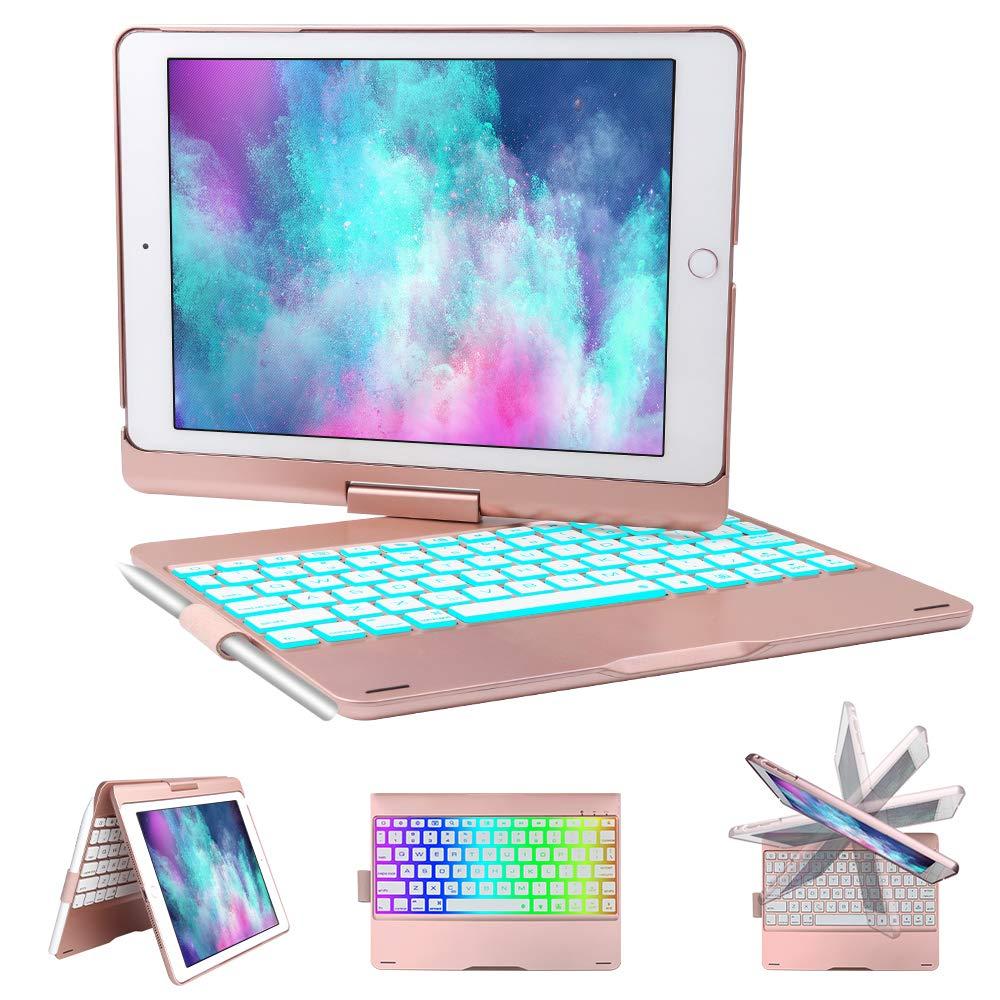 iPad Keyboard Case for iPad 6th gen - iPad 5th gen- iPad Pro 9.7- iPad Air 2- Air, 360 Degree Rotatable -Auto Sleep Wake- Wireless Bluetooth Backlit Keyboard Case with Pencil Holder (Rose Gold)