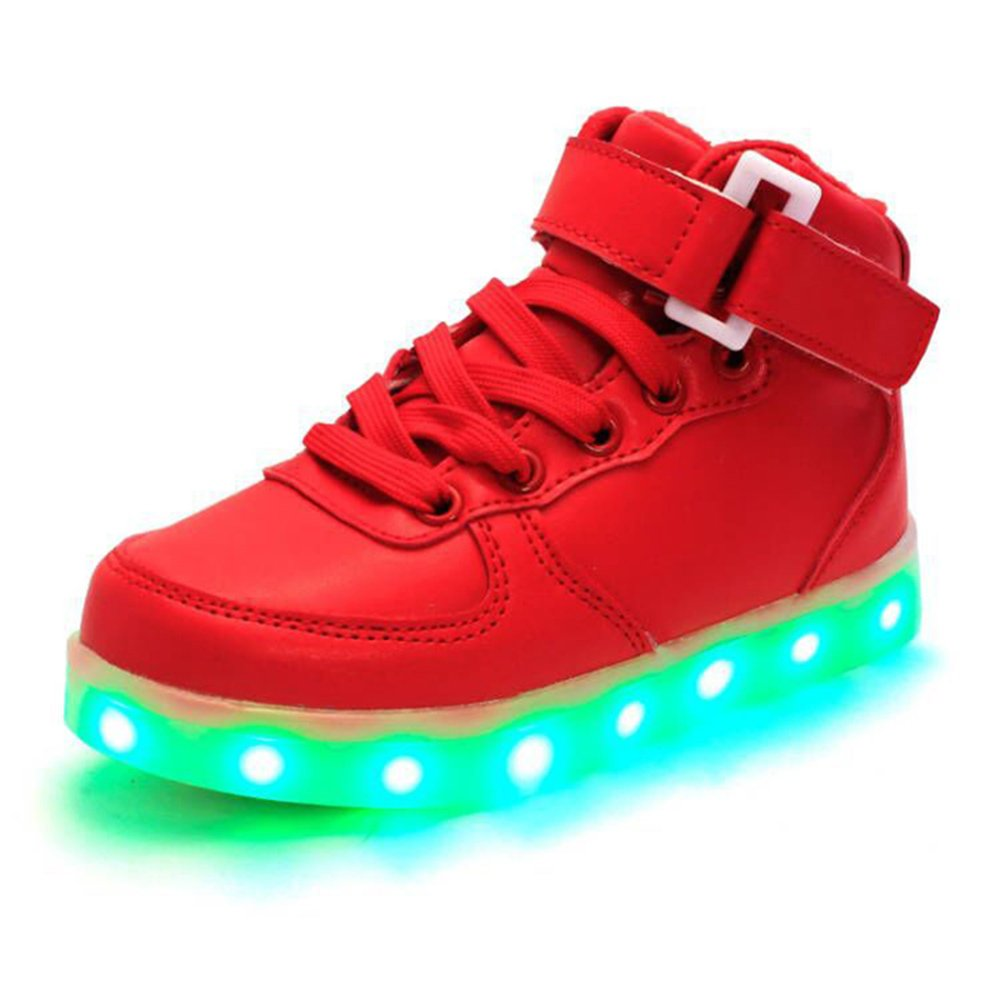 JIN Children Fashion Shoes High Top LED Light USB Charge Flashing Sneakers Kids Boys Girls Casual Glowing Shoes (13.5, red)