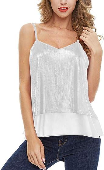ACHIOOWA Mujer Camiseta Elegante Casual Manga Corta Blusa Cuello V Punto Verano Playa Fiesta Oficina Suelto Top Shirt