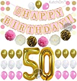 PINK 50th BIRTHDAY DECORATIONS BALLOON BANNER - Happy Birthday Black Banner, 50th Gold Number Balloons,Gold and Black, Number 50, Perfect 50 Years Old Party Supplies,