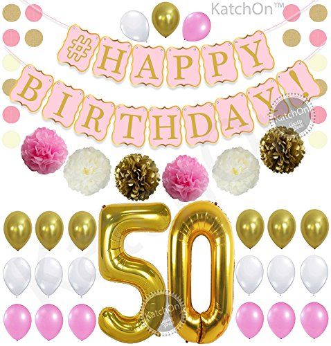 KatchOn 50th Birthday Decorations Kit - Pink Gold and White Balloons, Cream Tassel, Paper PomPoms Circle Garland,Happy Birthday Banner Pink and Gold, Number 50 for 50th Birthday Party Supplies, Large (Wishes 9 Helium Mylar Balloons)