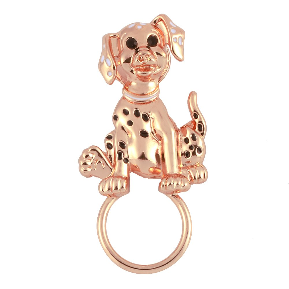 TUSHUO Pet Spotted Dog Sitting on The Ground Accompanied by Glazed Enamel Points and Black Diamonds Super Cute Magnetic Eyeglass Holder(Rose Gold)