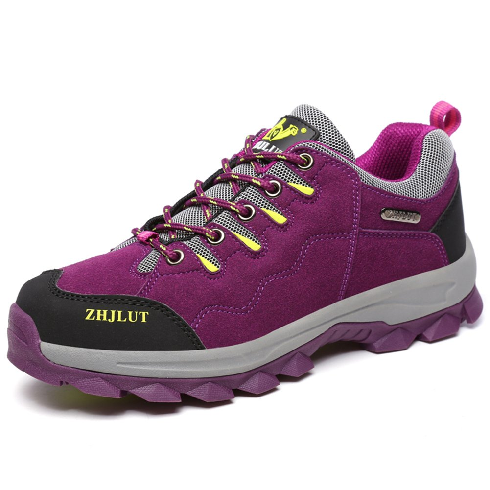 ZHJLUT Unisex Couple Men's Women's Sports Outdoor Leather Fleece Lined Shoe Hiking Boot Backpacking Shoe Purple Label Size 40-Women US8