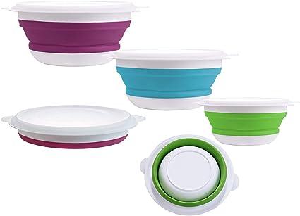 Kompakt Silikon Faltbar Zusammenklappbar 3 Bowl Set für Wohnwagen Zelten Heim