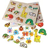 Inxens Wooden Animal Puzzle with Knobs and Insect Kids Wooden Puzzles for Toddlers Set of 2