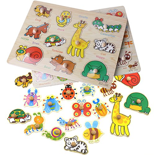 Inxens Wooden Animal Puzzle with Knobs and Insect Kids Wooden Puzzles for Toddlers Set of 2 by Inxens