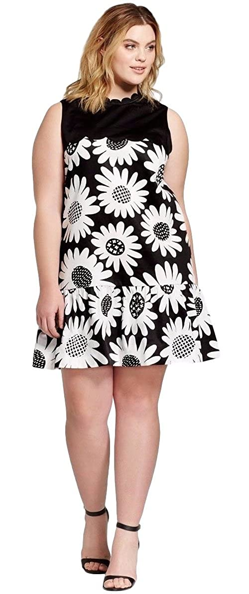 60s 70s Plus Size Dresses, Clothing, Costumes Victoria Beckham Womens Black Daisy Drop Waist Scallop Trim Dress $29.95 AT vintagedancer.com