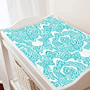 Carousel Designs White and Teal Vintage Damask Changing Pad Cover - Organic 100% Cotton Change Pad Cover - Made in The USA