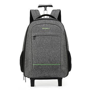 WDGT 2 rondas Trolley bag Mochila para portátil de negocios Flying Approved Viaje ligero a prueba de agua Trolley bag Laptop Roller Bag, Grey: Amazon.es: ...