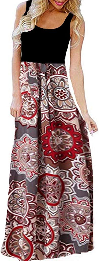 Boho Dress Forthery Women Summer Casual Beach Swing Sundress Mini Dress Tank Floral Printed O-neck Sleeveless Long Dress