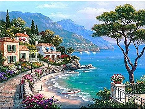 Amazon Com Junszyh Diy Oil Painting Beautiful Blue Mediterranean
