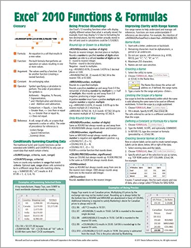 Microsoft Excel 2010 Functions & Formulas Quick Reference Guide (4-page Cheat Sheet focusing on examples and context for intermediate-to-advanced functions and formulas- Laminated Guide)