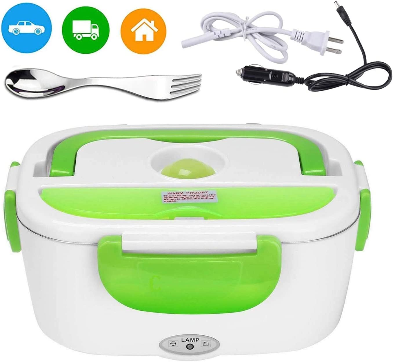 Electric Lunch Box for Car and Home 110V & 12V Removable Stainless Steel Portable Food Grade Material Warmer Heater - with 2 in 1 Fork & Spoon (green)