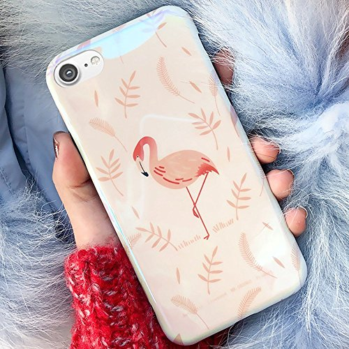 iPhone 7 Case,iPhone 8 Silicone Case,EUWLY Flexible Silicone Gel Rubber Case Cover with Love Heart Pattern Design Shockprroof Anti-Scratch Ptotective Case Cover for Apple iPhone 7/8 + 1 x Stylus,Love Pink Flamingo