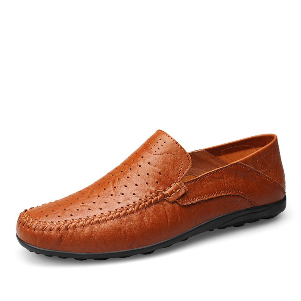 Slipper de Deslizamiento de los Mocasines Casuales del diseño de la Moda de los Hombres en la Zapatilla del holgazán de la conducción (Color : Red Brown Hollow Vamp, tamaño : 38 EU) -