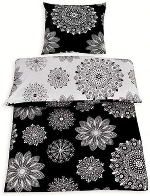 Weiß Schwarz 135x200 cm mit Reißverschluss Baumwolle Renforce Bettwäsche 2tlg